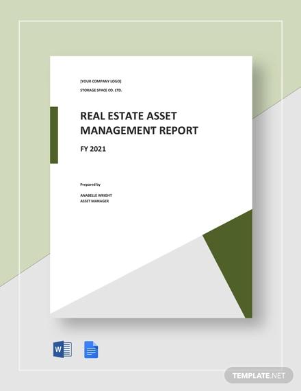 real estate asset management report template