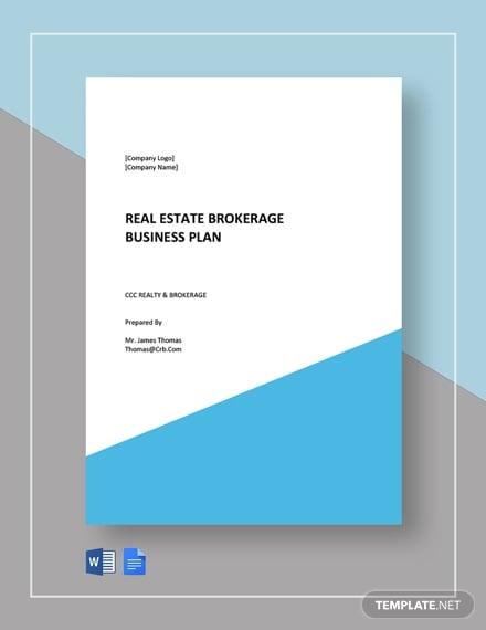 real estate brokerage business plan template