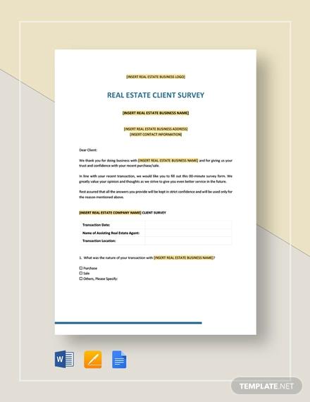 real estate client survey template