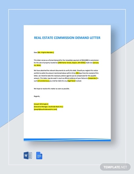 real estate commission demand letter template