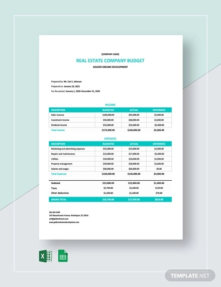 real estate company budget template