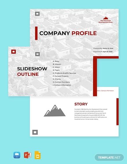 real estate company profile template