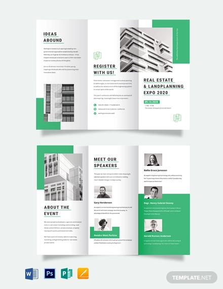 real estate corporate event tri fold brochure template