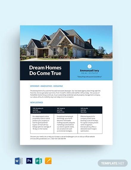 real estate datasheet template