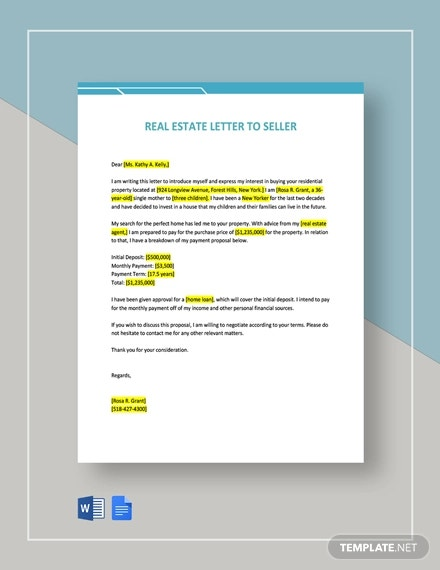 real estate letter to seller template