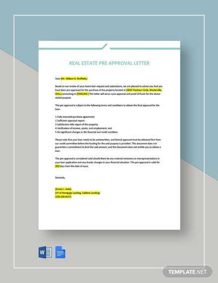 real estate pre approval letter template