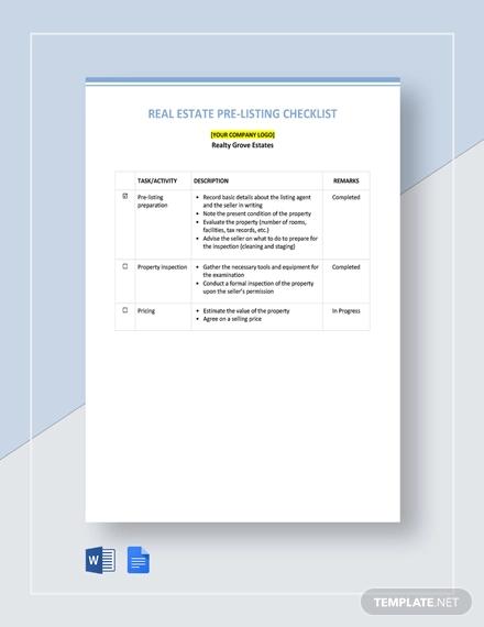 real estate pre listing checklist template