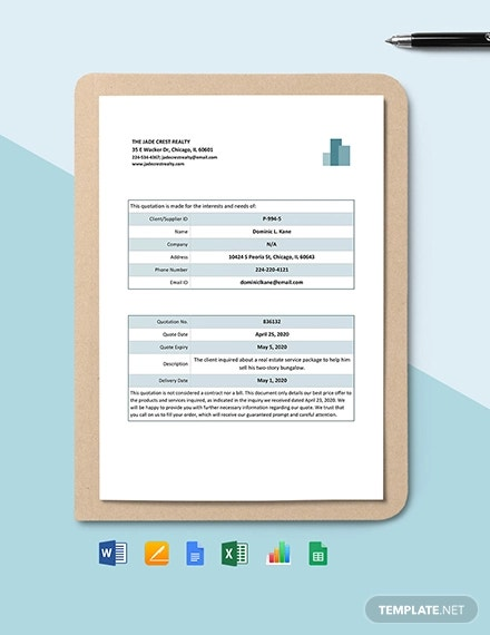 real estate price quotation template