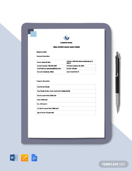 real estate sales lead form template