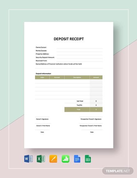 sample deposit receipt template