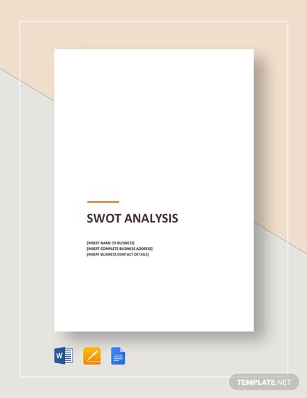 sample swot analysis template