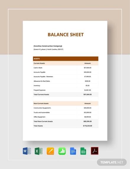 7 Free Real Estate Balance Sheet Templates In Pdf Excel Free Premium Templates