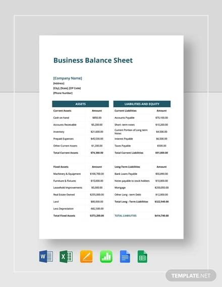 small business balance sheet template