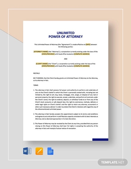 unlimited power of attorney template