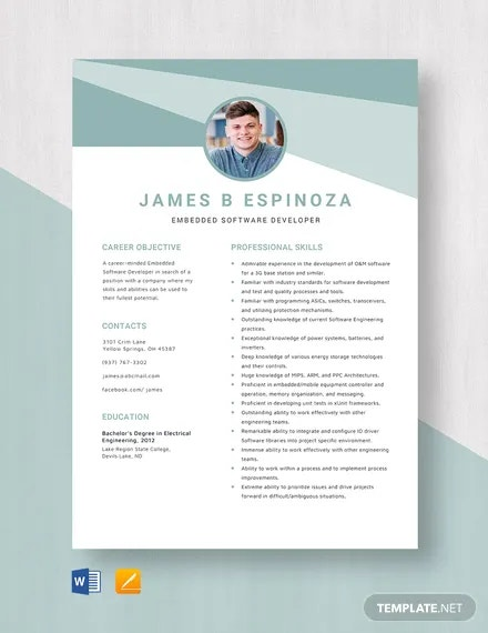 embedded software developer resume template