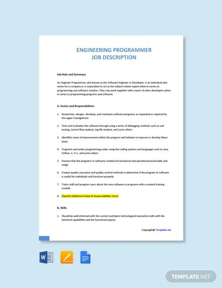 free engineering programmer job description template