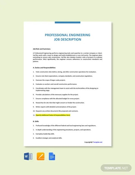 free professional engineering job description template