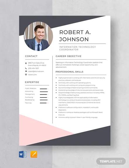 information technology coordinator resume template