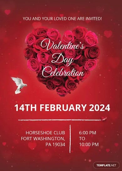red valentines day invitation card