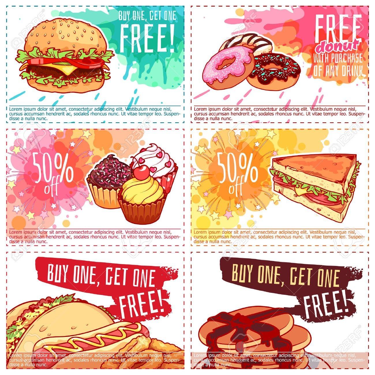 52176866 six different discount coupons for fast food or dessert vector template discount voucher isolated on