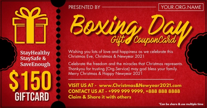 boxing day gift card 2020 template design 138a25ce794afde944a1aefb625d3382